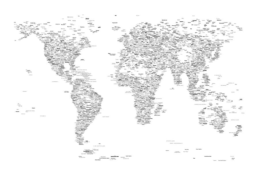 World Map Of Cities Typography Map Digital Art by Michael Tompsett