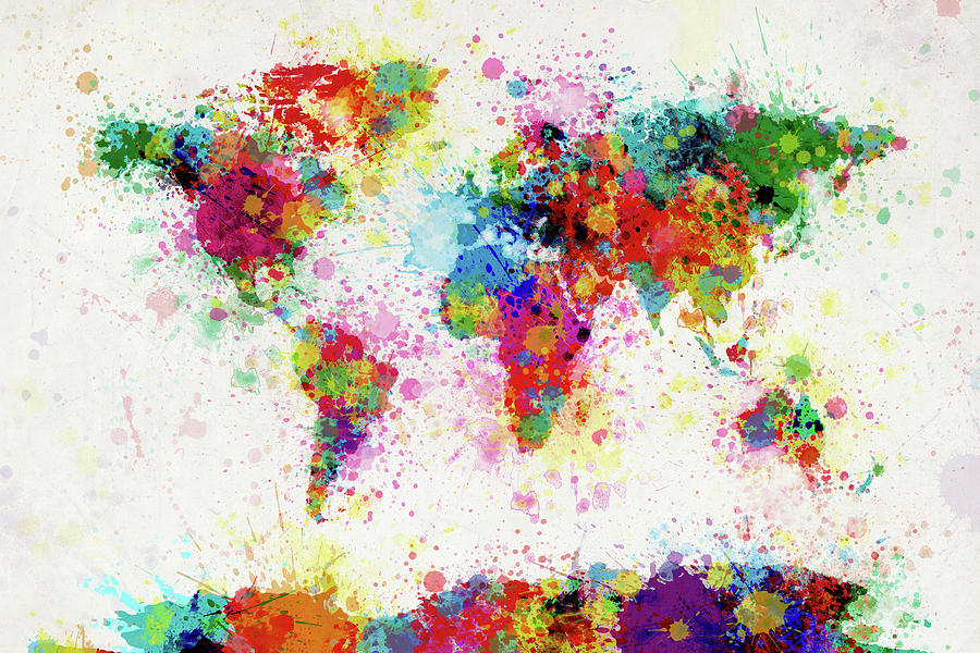 World Map Paint Splashes Digital Art - World Map Paint Drop by Michael Tompsett
