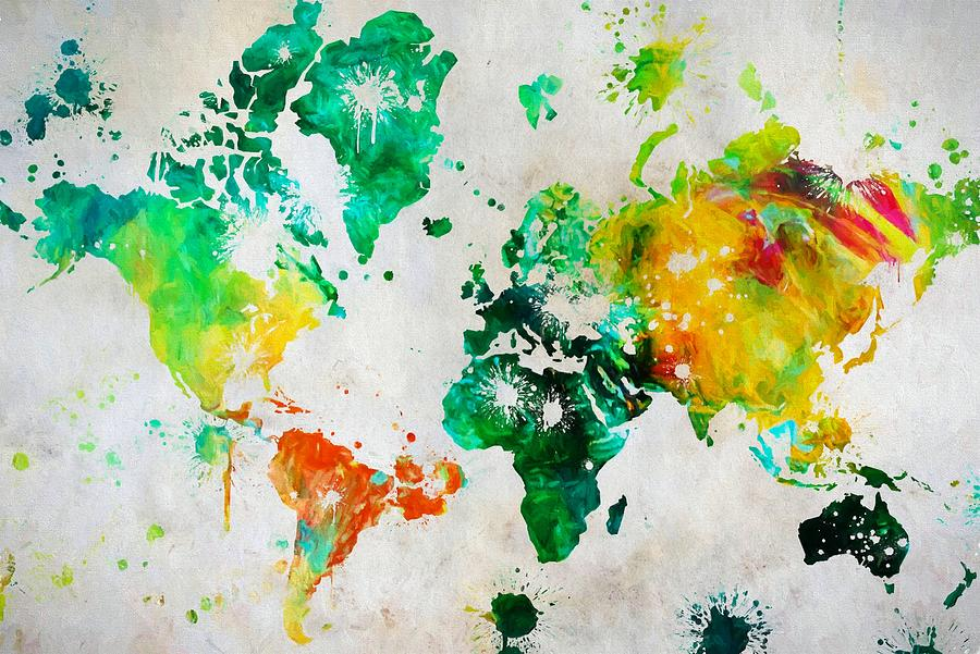 World Map Paint Splatter Painting By Dan Sproul - Colorful world map painting