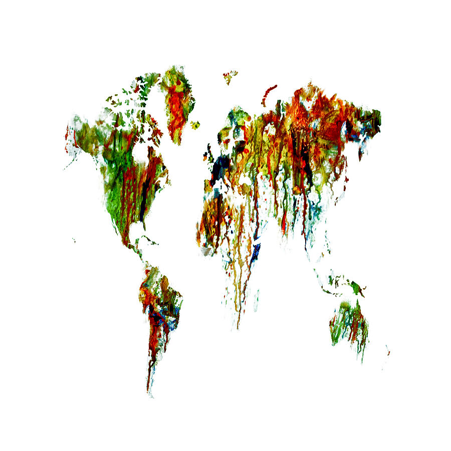 World Map Painting - World Map Running Paint 01 by Brian Reaves
