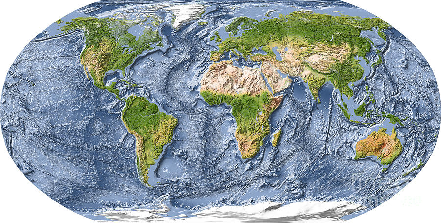 World map shaded relief with ocean floor digital art by michael world digital art world map shaded relief with ocean floor by michael schmeling gumiabroncs Gallery