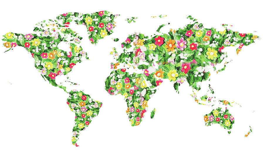 World Map Silhouette Flowers Painting By Irina Sztukowski