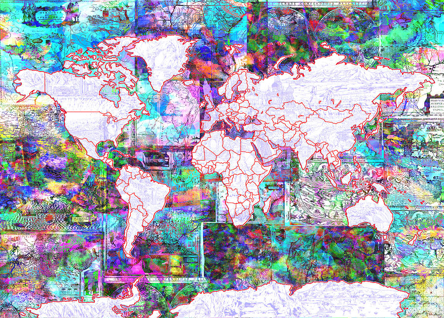 World Map Vintage Color Painting By Bekim Art