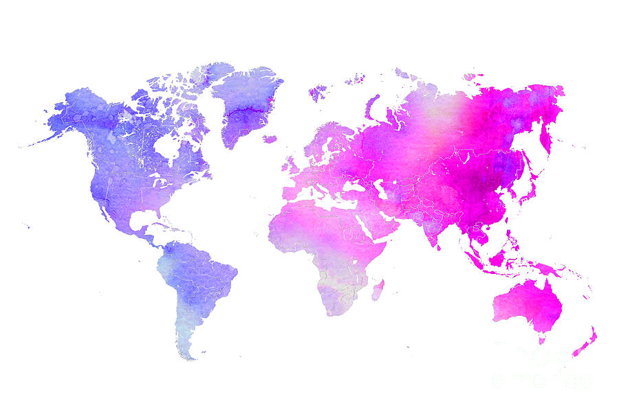 Edit The World Map World Map Watercolor Digital Art by Edit Voros