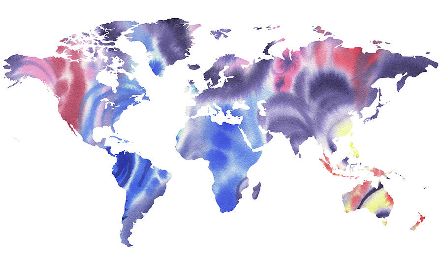 World Map Watercolor In Blue Silhouette Painting By Irina Sztukowski