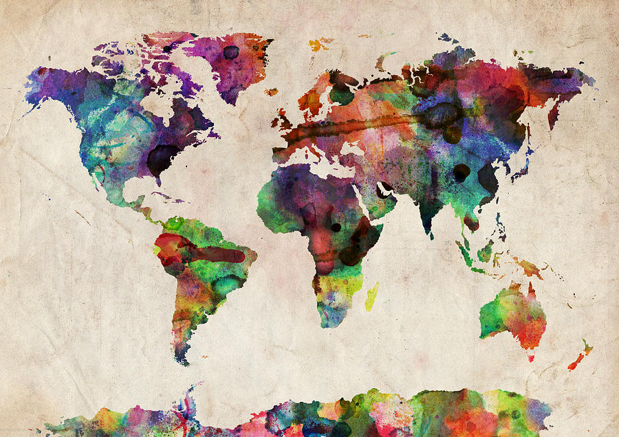 World map watercolor digital art by michael tompsett map of the world digital art world map watercolor by michael tompsett gumiabroncs Choice Image