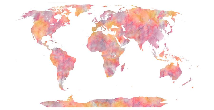 World map watercolor painting painting by georgeta blanaru world map painting world map watercolor painting by georgeta blanaru gumiabroncs Choice Image