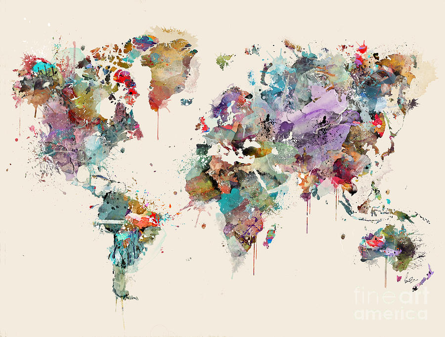 World Map Painting - World Map Watercolors by Bri Buckley