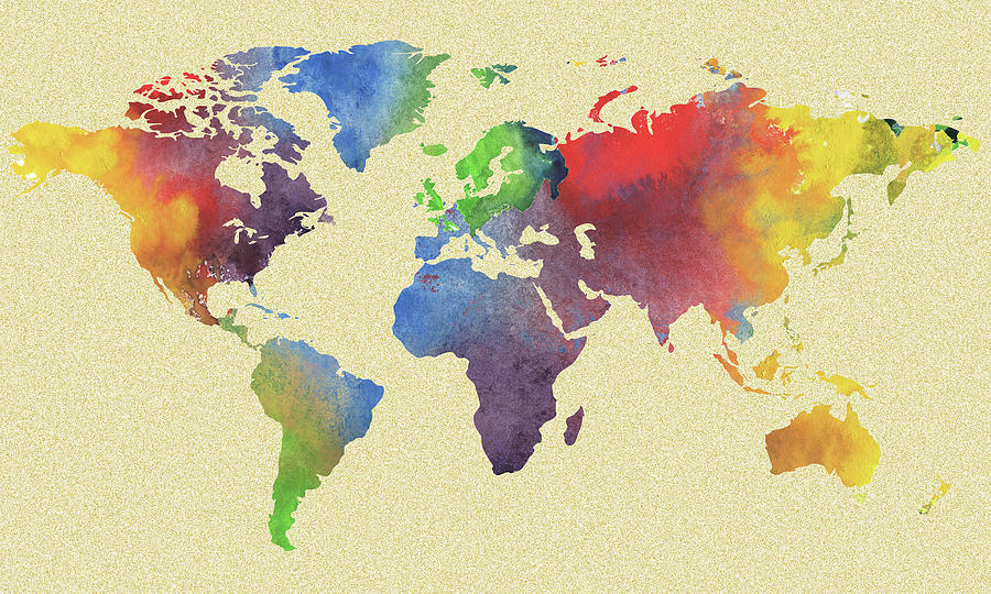 World Map Watercolour Silhouette