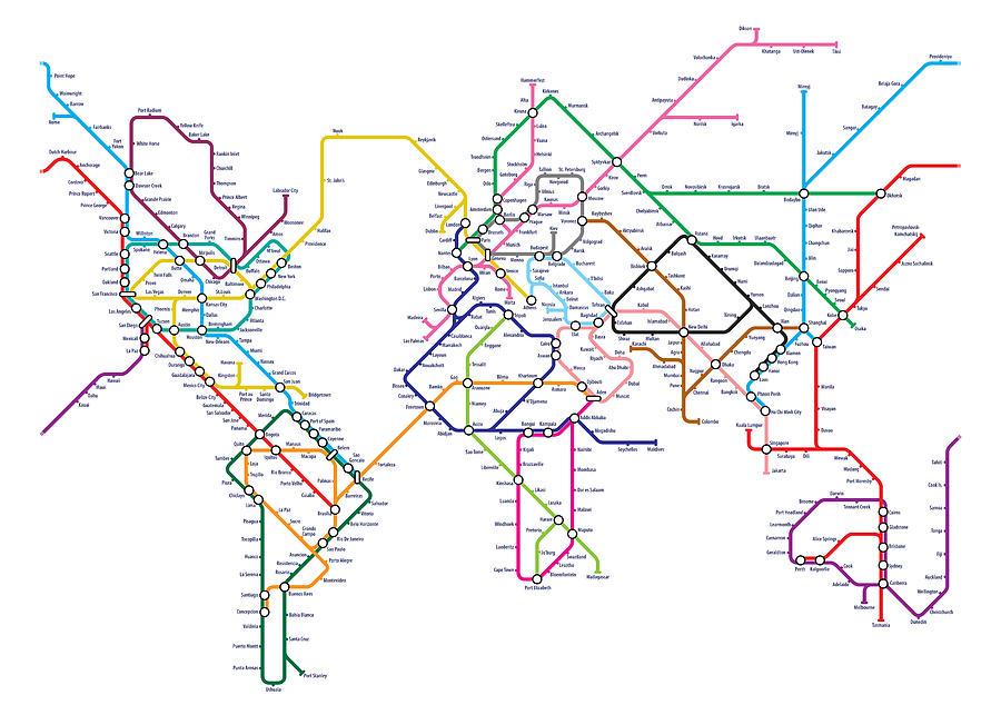 World metro tube map digital art by michael tompsett world map digital art world metro tube map by michael tompsett gumiabroncs Choice Image