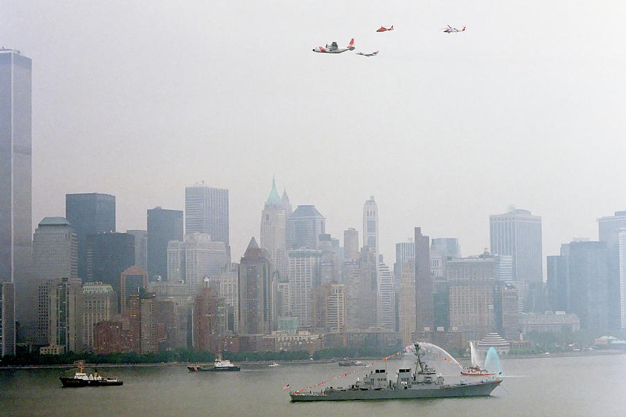 New Photograph - World Trade Center And Opsail 2000 July 4th Uscg Photo 17  by Sean Gautreaux