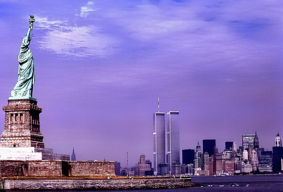 World Trade Center Twin Towers and the Statue of Liberty  by Russ Considine