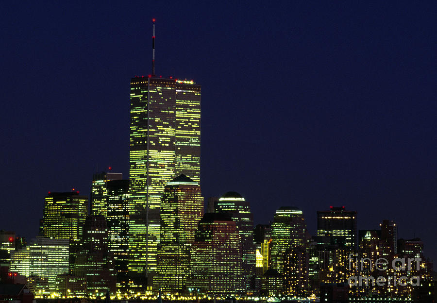World Trade Center Twin Towers At Night New York City