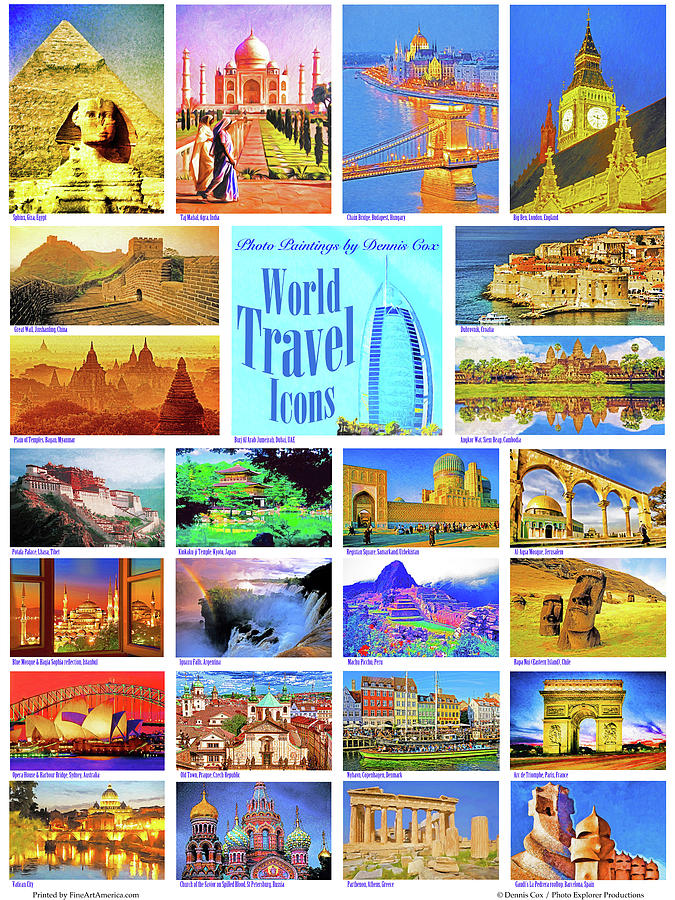 World Travel Icons Poster Photograph