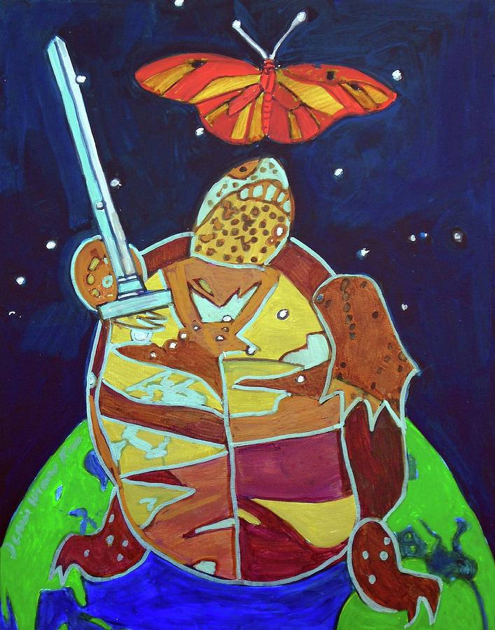 World Painting - World Turtle King Of Swords by Denise Weaver Ross