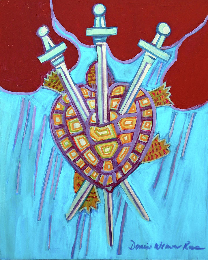 World Painting - World Turtle Three Of Swords by Denise Weaver Ross