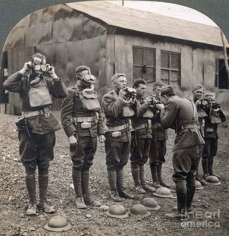1918 Photograph - World War I: Gas Masks by Granger