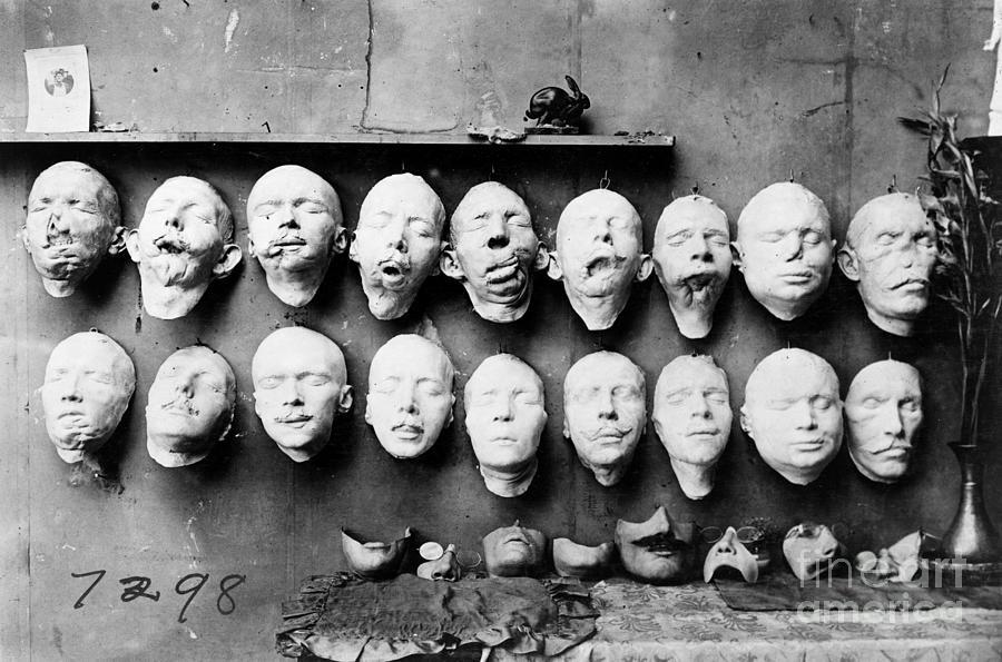 1918 Photograph - World War I Masks, 1918 by Granger
