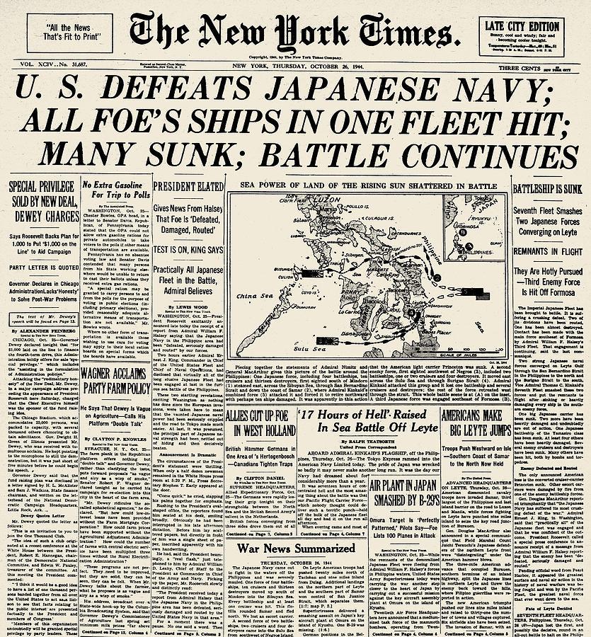 1944 Photograph - World War II: Leyte Gulf by Granger
