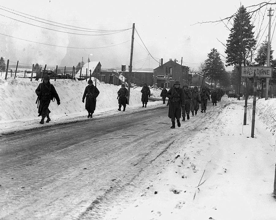 1940s Photograph - World War II. Us Army Infantrymen March by Everett