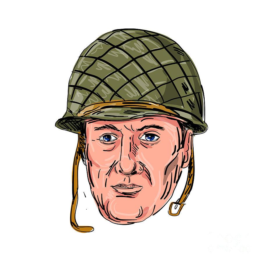Illustration Digital Art - World War Two American Soldier Head Drawing by Aloysius Patrimonio