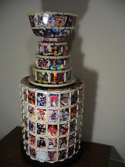 Stanleycup Sculpture - Worlds First Nhl Hockey Card Stanley Cup by Pjohn Artman
