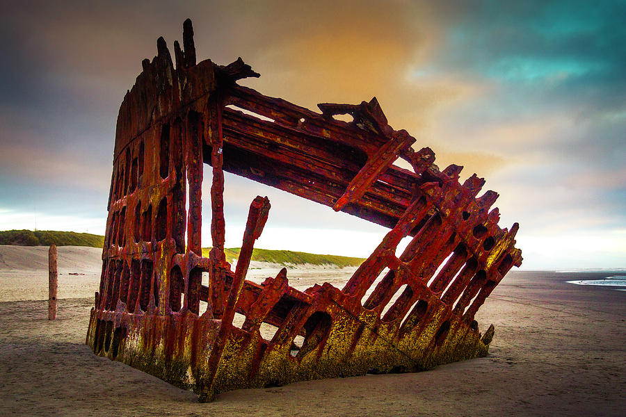 Rusty Photograph - Worn Rusting Shipwreck by Garry Gay