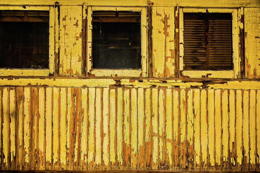 Train Photograph - Worn Yellow Passanger Car by Garry Gay