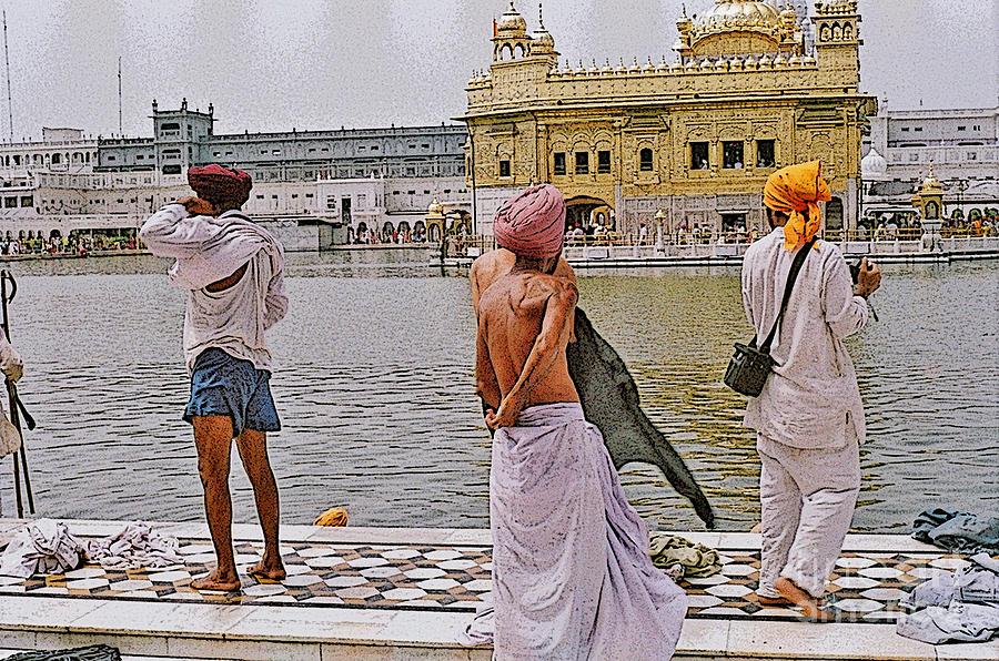 Digital Image Photograph - Worshippers At Golden Temple Amritsar India by Padmakar Kappagantula