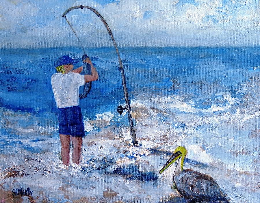 Fisherman Painting - Worth Wading 4 by Annie St Martin