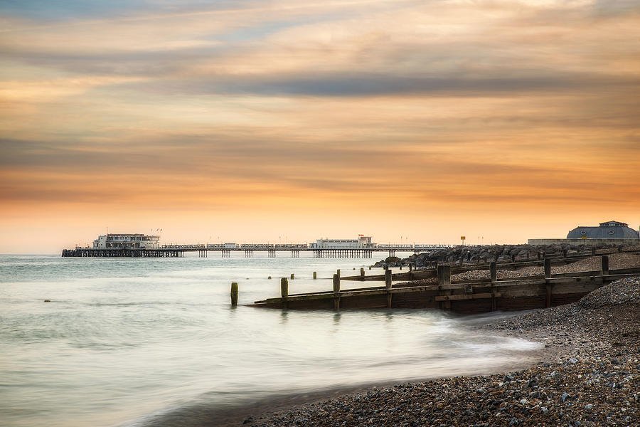 Worthing Pier at Sunset by Len Brook
