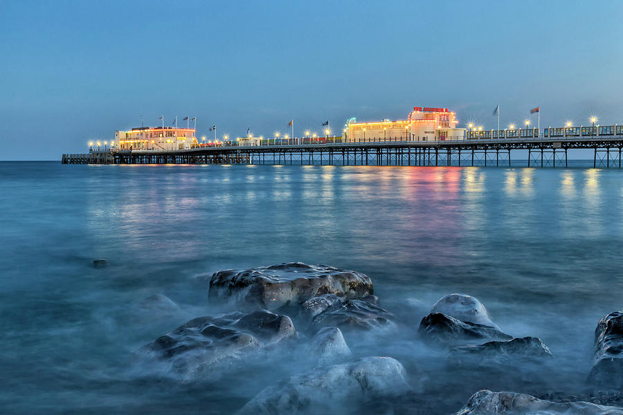 Worthing Pier Blue Hour by Len Brook