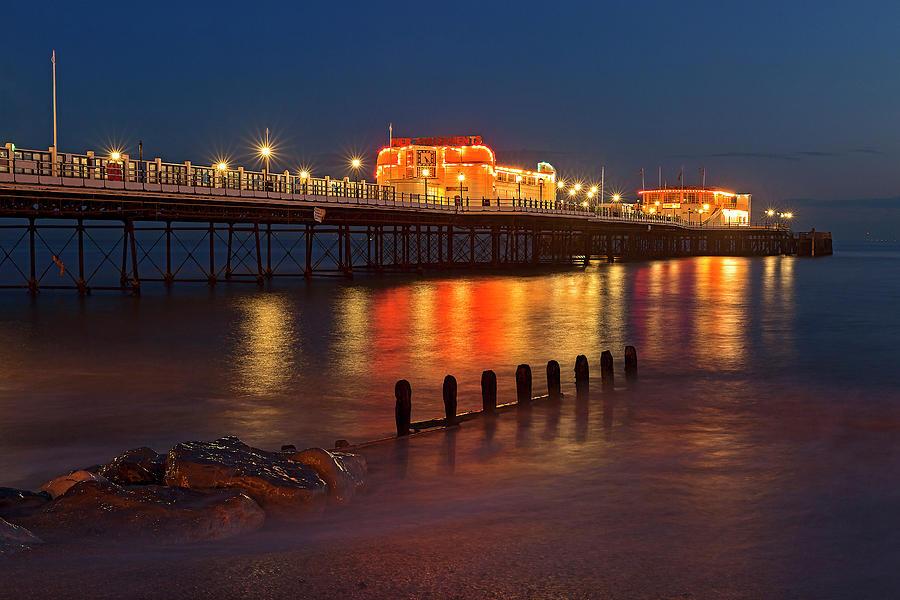 Worthing Pier Night by Len Brook