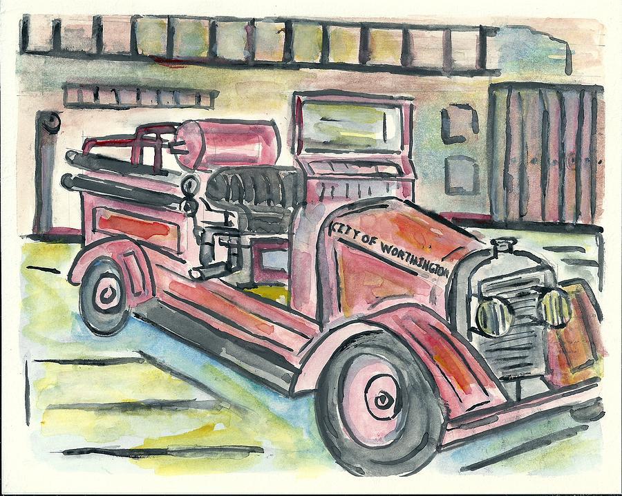 Fire Engine Painting - Worthington Fire Engine by Matt Gaudian