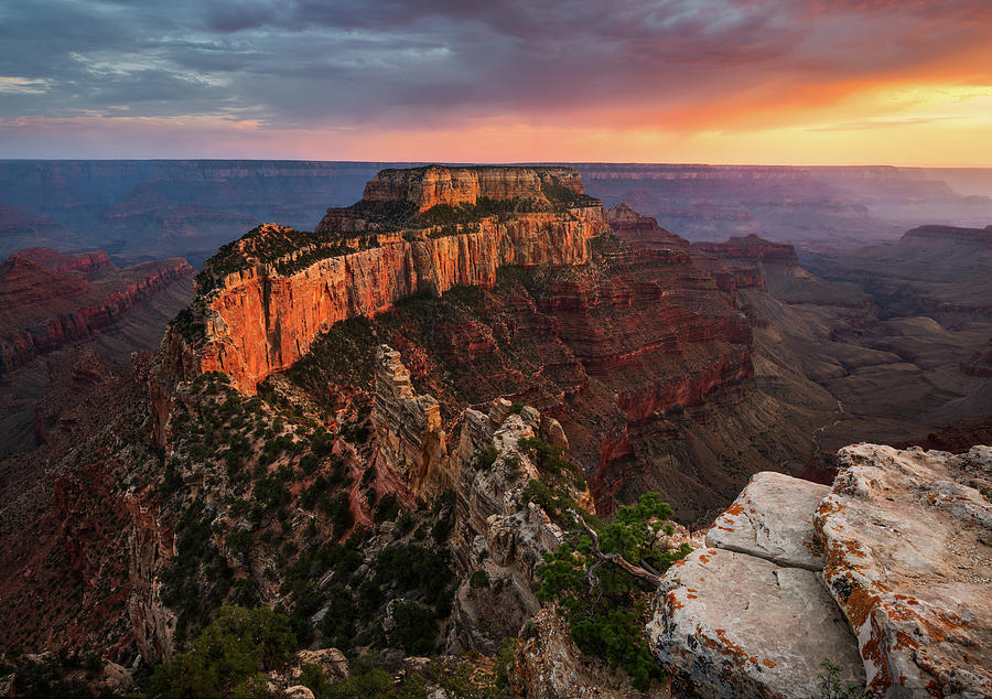 Grand Canyon National Park Photograph - Wotans Throne At Sunset by Adam Schallau
