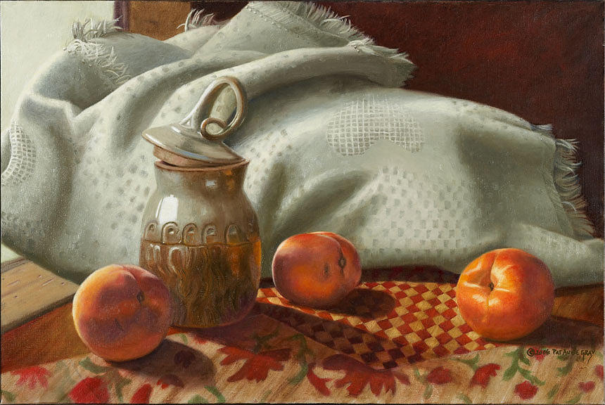 Still Life Painting - Woven Decopaged Thrown And Grown by Pat Aube Gray