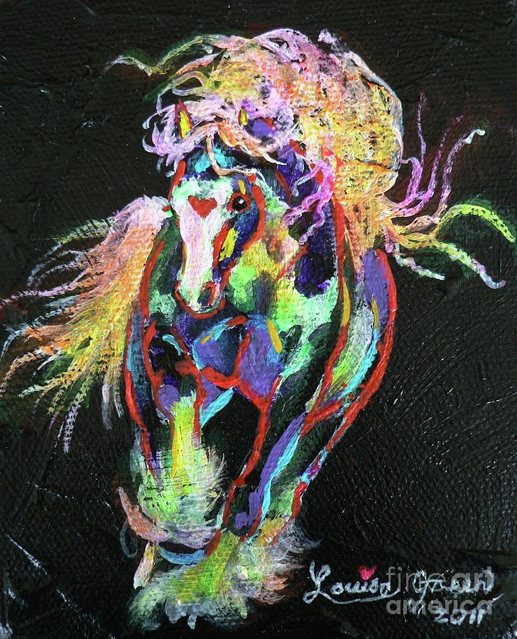 Gypsy Cob Painting - Wraggle Taggle Gypsy Cob by Louise Green