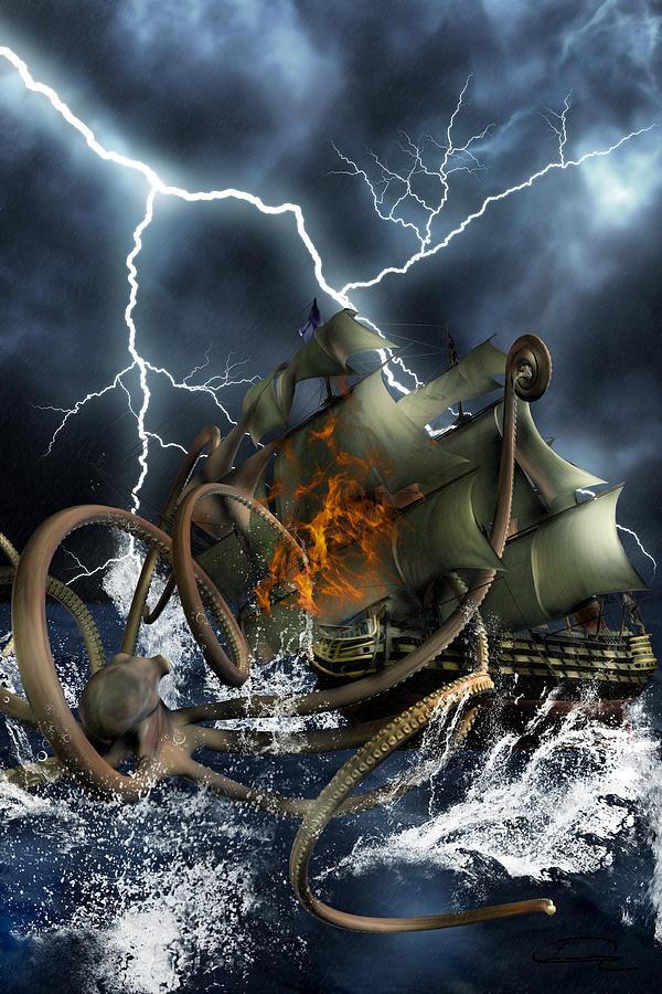 Kraken Painting - Wrath Of Kraken by Emma Alvarez