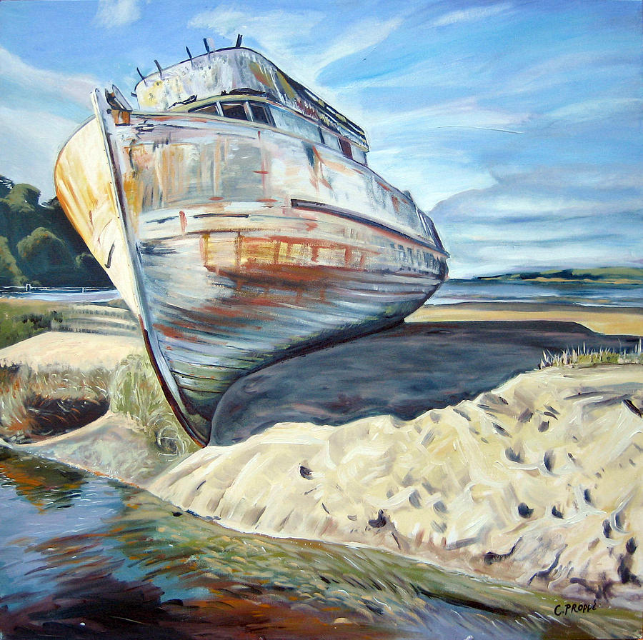 Boat Painting - Wreck Of The Old Pt. Reyes by Colleen Proppe