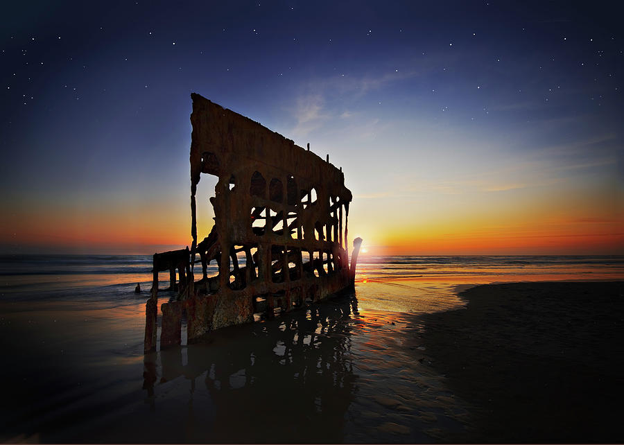 Ship Digital Art - Wreck Of The Peter Iredale-b by John Christopher