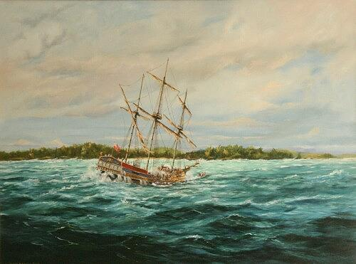 Marine Painting - Wreck Of The Sea Venture Off Bermuda In 1609 by Christopher Grimes