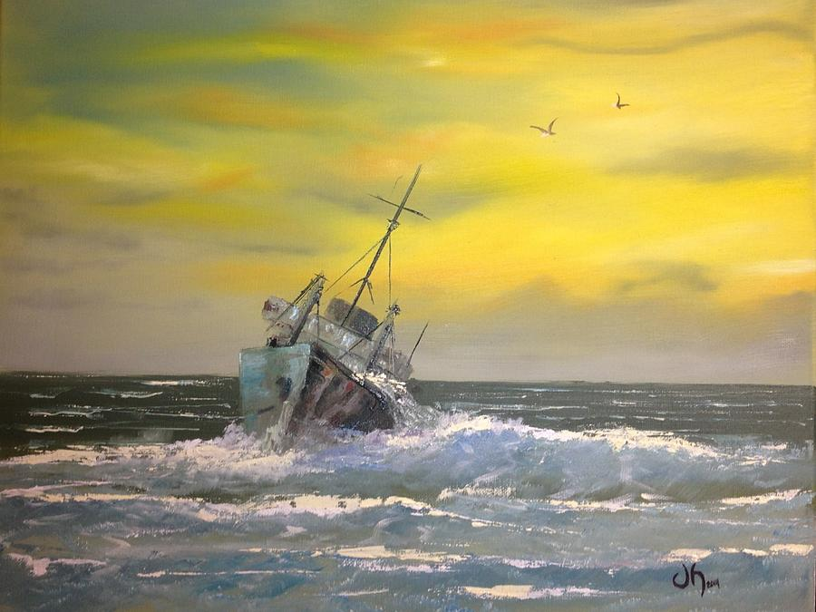 Ship Painting - Wrecked by David Hickson