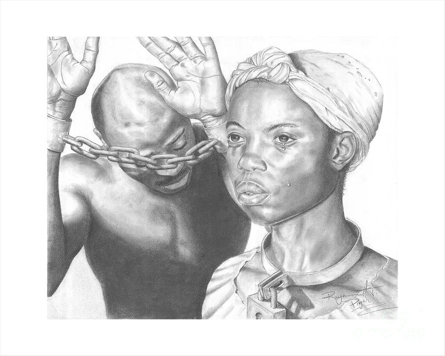 Black And White Drawing - Wretched Bonds Of Slavery by Sandra Pryer
