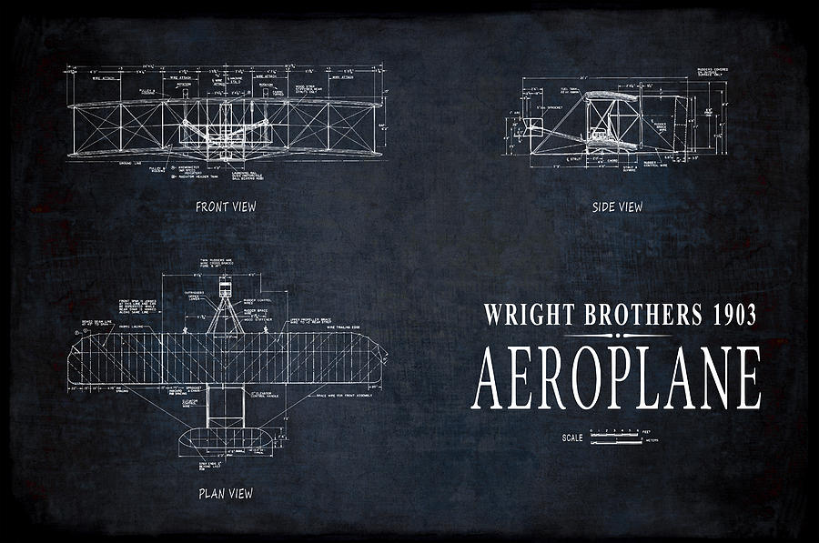Wright brothers 1903 aeroplane blueprint digital art by daniel blueprint digital art wright brothers 1903 aeroplane blueprint by daniel hagerman malvernweather Gallery