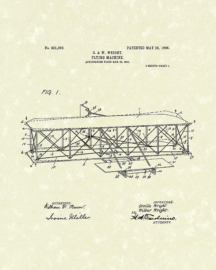 Invention Drawing - Wright  Brothers Flying Machine 1906 Patent Art by Prior Art Design
