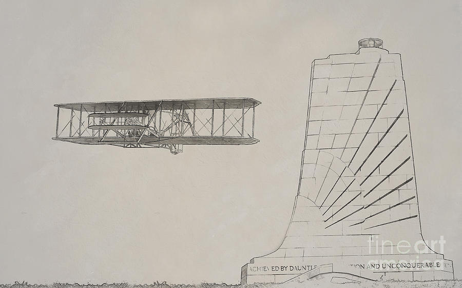 Wright Brothers Memorial Digital Art - Wright Brothers Memorial Plane Sketch by Randy Steele