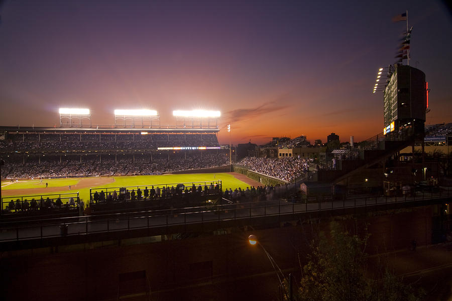 Cubs Photograph - Wrigley Field at Dusk by Sven Brogren