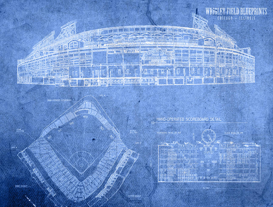 Chicago art fine art america chicago mixed media wrigley field chicago illinois baseball stadium blueprints by design turnpike malvernweather Gallery