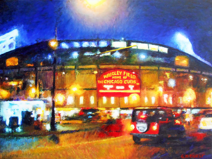 Wrigley Field Home Of Chicago Cubs Painting By Michael Durst
