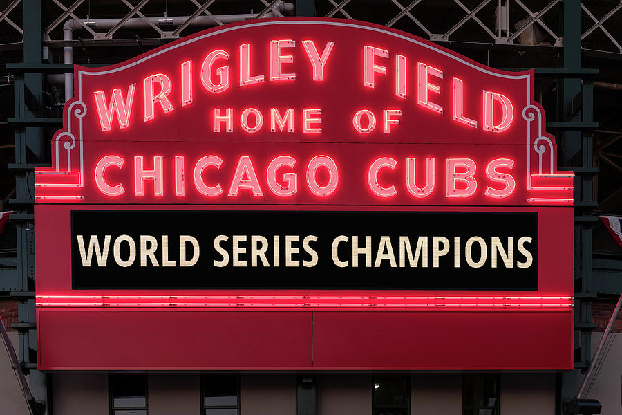 b1d5fee90c Chicago Photograph - Wrigley Field Marquee Cubs World Series Champs 2016  Front by Steve Gadomski
